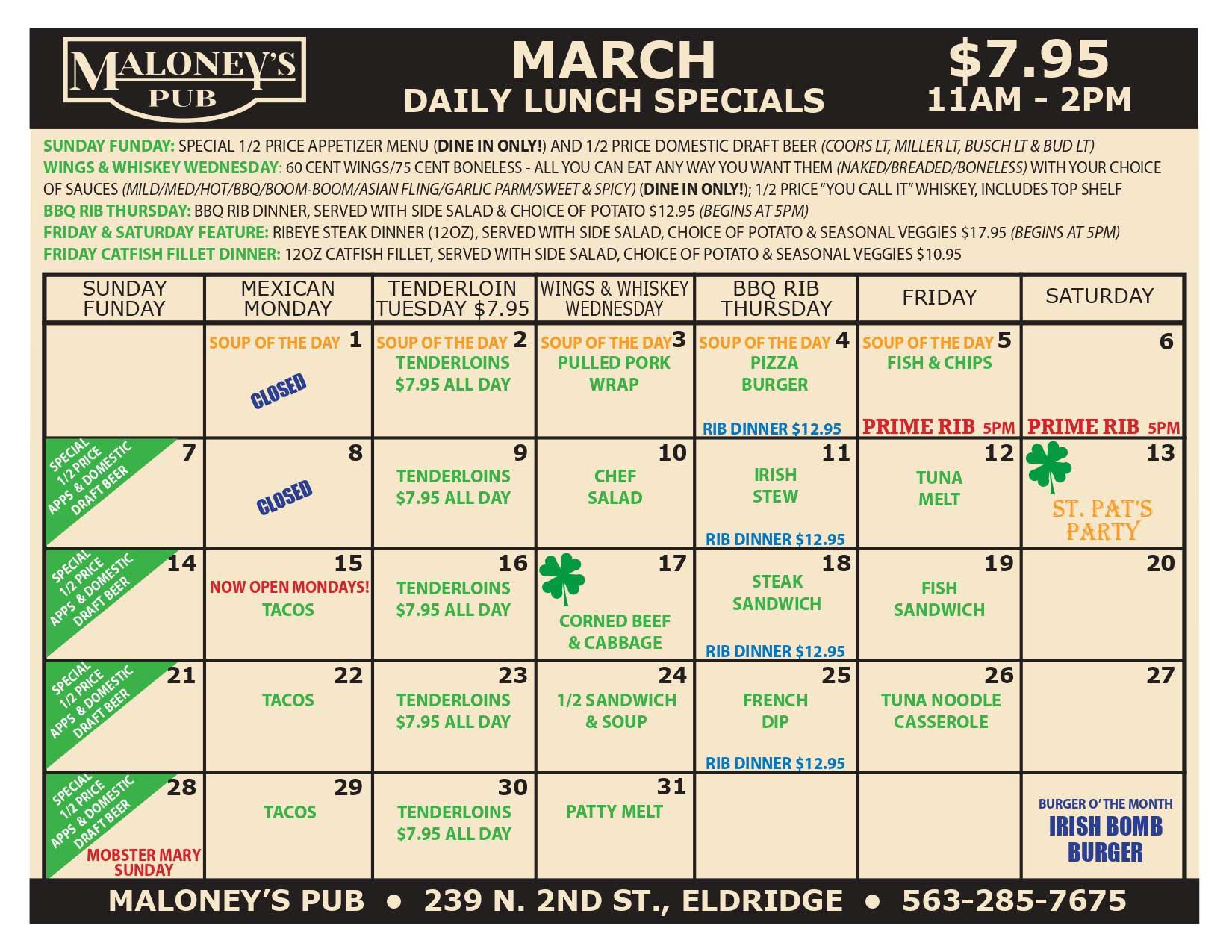 Maloney's-Pub-March-2021-Lunch-Menu