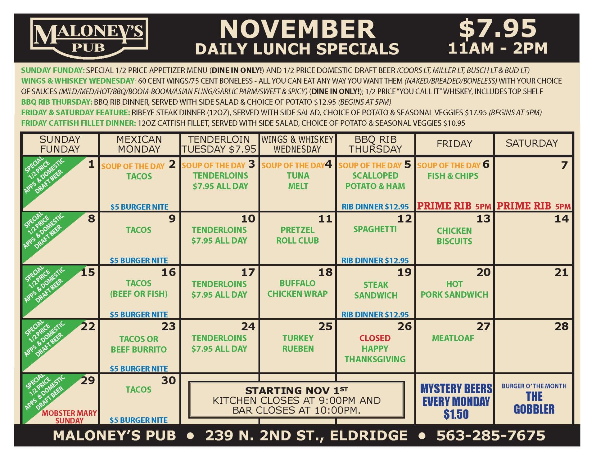 Maloney's Pub November Lunch Specials