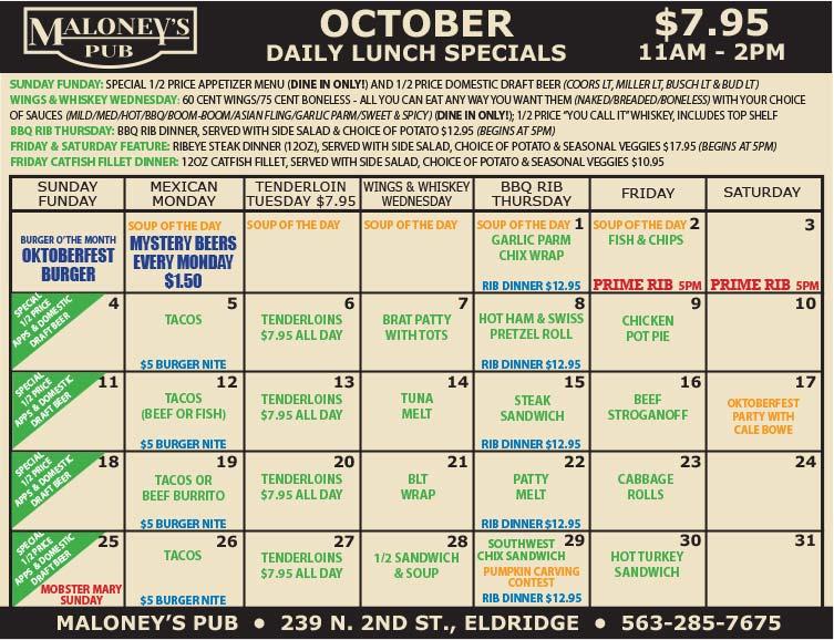 Maloney's-Pub-October-Lunch-Specials
