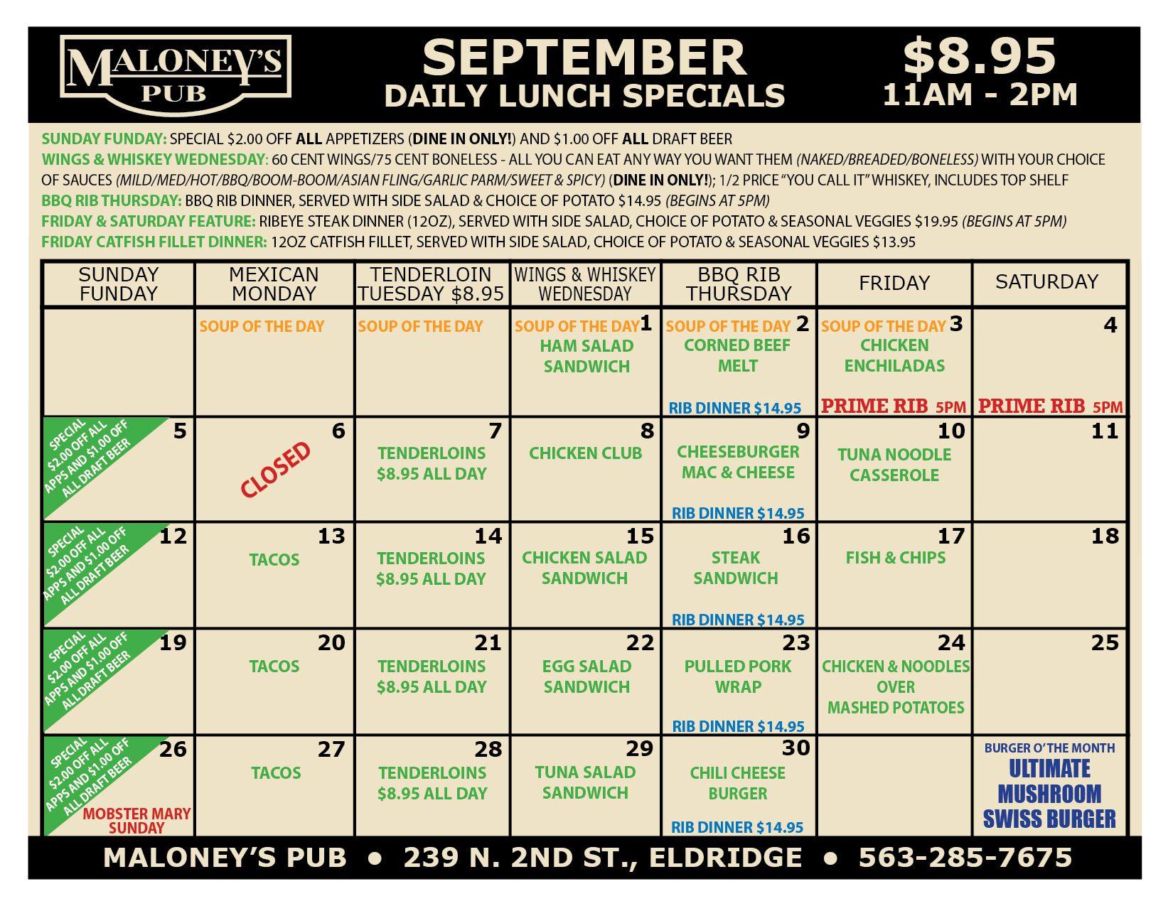 Maloneys-Pub-August-2021-Lunch-Specials